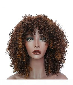 Ombre Short Curly Wigs for Black Women Brown Synthetic Afro Wig with Bangs Natural Full Heat Resistant Hair