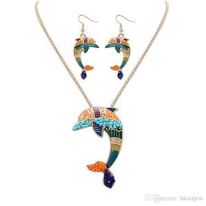 bella collana insiemi degli orecchini dello smalto della collana di cavallo insiemi dei monili i pendenti d'argento per le donne I monili placcati dello smalto