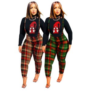 Women Tracksuits Two Piece Set Designer 2021 Pattern Printed Suspender T-shirt Colorful Plaid Ladies Outfits New Fashion Sportwear