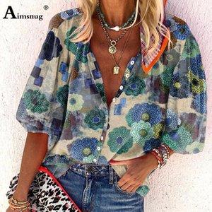 AIMSNUG PLUS BEGRÖSSE 3XL Frauen Tops Bluse Lantern Sleeve Böhmischen Stil Tunika Blusen 2021 Sommer Blumendruck Weibliche Blusas Hemd1