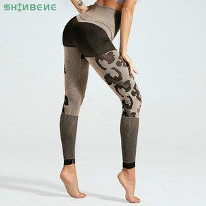 SHINBENE Stretchy Camo Sport Fitness Leggings Femmes taille haute Pantalon de yoga sans couture Squatproof évider Workout Gym Collants 201016