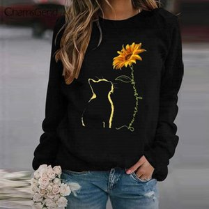 Fashion Sunflower Print Hoodie Women Leisure Basic Ladies Long Sleeves Pullovers Tops 2020 New Autumn Harajuku Sweatshirt Q0115