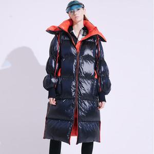 Длинное Janveny пальто Теплого капюшон 2020 Зимних Женщины Duck пуховик Женских ветровки Водонепроницаемые