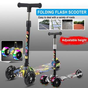 Skateboarding com luminoso led luz eléctrica scooter original rússia para crianças 3 rodas triciclo portátil portátil 22.83x9.84x29.92inch1