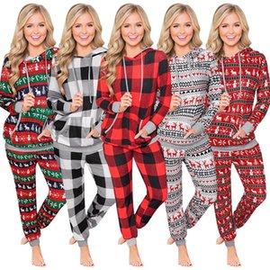 Designer-Winter-Frauen 2-teiliges Set Weihnachten Plaid Print Langarm-Kapuzenshirt Kordelzug Hosen Pullover Anzug Club Party beiläufige Damen Kleidung