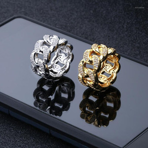 Hip Hop Zircon Chain Ring Iced out Bling Full of Zircon Influx Gold Ring for Men Rapper Punk Hip Hop Jewelry1