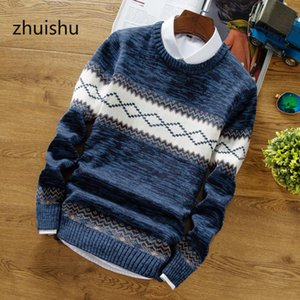 ZHUISHU 2020 Fashion The New Pure Color with Thick Round Collar of Recreational Men's Clothing Sweaters