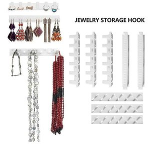 9pcs Adhesive Jewelry Hooks Shelf Necklace Rings Earrings Abs Storage Holder Stand Rack Holder Home Wall Sticky Jewe wmtbba