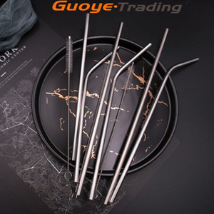 straw 304 stainless steel straw anti-scratch Food grade cocktail drink juice Milkshake coffee straw bags and tips reusable drinking straws