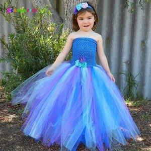 Ksummeree meninas bonitas do pavão vestido Tutu com o Partido de aniversário de criança Headband casamento Outfit Vintage Pageant Vestido TS123 3BQr #