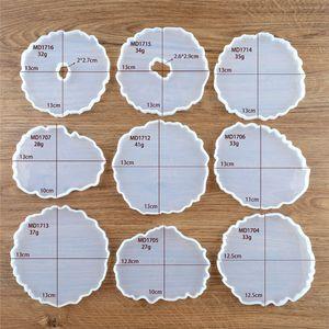 Эпоксидная смола Силиконовые формы Нерегулярный силиконовый DIY Wave Coaster Flush для срезов Agate Agate Чашки Коврики Коврики Home Decor