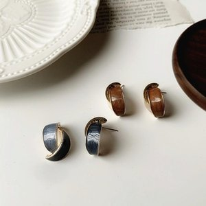 Origin Summer Korean Fashion C Shape Geometrical Hoop Earings for Women Unique Design Irregular Enamel Earings Jewelry Hot