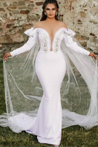 2020 Plus Size Arabic Aso Ebi Sexy Crystals Mermaid Wedding Dresses Sheer Neck Bridal Dresses Long Sleeves Wedding Gowns ZJ945