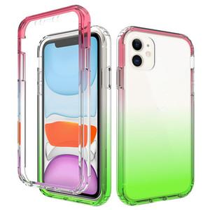 Градиентные прозрачные чехлы для телефона для iPhone 12 Mini 11 Pro Max XR XS SE2020 8 7 плюс ударопрочный анти-падение 3 в 1 Очистить крышку