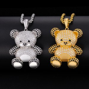 CZ Stone Bling Iced Out Cute Bear Pendants Necklaces for Women Men Rapper Jewelry Gift
