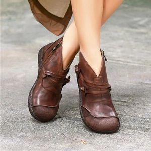 LOOZYKIT Горячие продаж 2020 осень зима ретро женщин сапоги Мода натуральная кожа Ботильоны Zapatos De Mujer Vintage Теплый Botas C1011