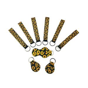 Bracelet en néoprène Porte-clés imprimé floral porte-clés néoprène Porte-clés Keychain Wristlet Party Favor 29 Designs gros GGE1830