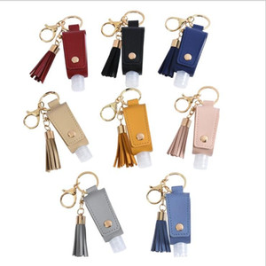 Hand Sanitizer Bottle Cover PU Leather Tassel Holder Keychain Protable Keyring Cover Storage Bags Home Storage Organization