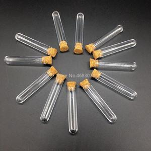 100 adet / grup 12x100mm Cork Stoper ile Plastik Test Tüpü Clear Cam, Laboratuvar Okulu Eğitim Malzemeleri Q Bbywdf