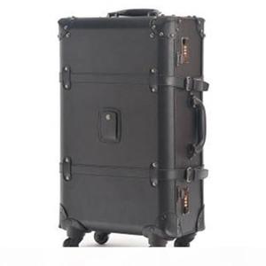 2017 Yeni Vintage seyahat çantası evrensel tekerlekler arabası bagaj moda bağbozumu siyah bagaj arabası erkek kadın bağbozumu bavul