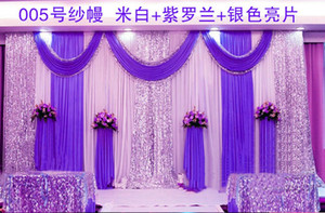 Express free shipping wedding stage backdrops decoration romantic wedding curtain with swags sequins,Photography Background Js67