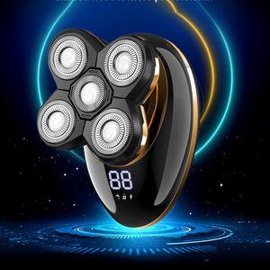 5 in 1 USB Uomini ricaricabili Lavabile Cinque teste galleggianti Rasoi Rashers Capelli Clipper Nato Ear Ear Capelli Trimmer Uomo Pennello per la pulizia del viso