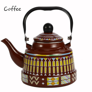 1.1L Whistling Enamel Tapot with Steel Handle Exquisite Enamelled Stovetop Kettle Traditional Bone China Teapots Luxirious Metal Jug AHD2281