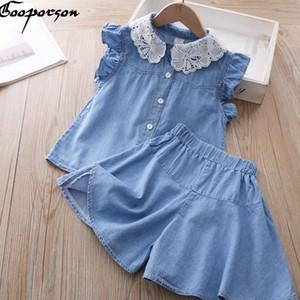 Gooporson Yaz Moda Küçük Kız Giyim Seti Dantel Yaka Denim Uçan Kol Topshorts Sevimli Çocuk Giyim Kız Kıyafetler rJAx #