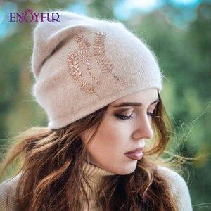 ENJOYFUR chapeaux d'hiver pour les femmes épais chaud Doublure strass Hat Femme Marque Beanies Angora Caps laine pour dame 201026