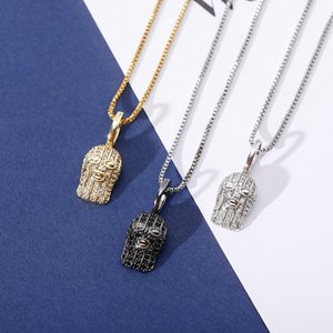 HipHop Iced Out Zircon Masked Man Silver Pendant Necklace Gold Silver Plated Mens New Fashion Necklace