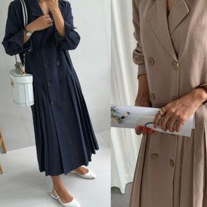 LANMREM LANMREM NUEVO MANERA DE VERANO Mujeres Vestido suelto Tamaño de gran tamaño Abrigo COLLA DE TURBUCIÓN CASAL DOBLE PECTADO LJ201128