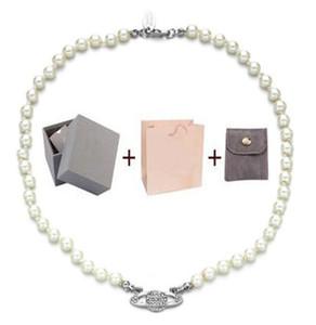 Con caja moda cristal satélite planeta perla collar de clavícula collar de cadena de clavícula gargantilla barroca para mujer fiesta de joyería regalo