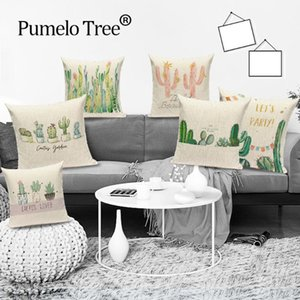 Tropical Plant Cushion Cover Cactus Green Printed Pillow Cover for Jungle Plant Home Chair Sofa Decorative Pillow Cases Cojines