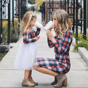 Family Matching Outfits Mother Daughter Dresses 2020 Spring Autumn Women Moms And Girls Clothes Long Sleeve Plaid Family Dress