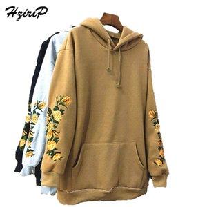 HZIRIP NEW HOOEDED Толстовка женская элегантная вышивка цветы с длинными рукавами пуловер мода повседневная высокая качественная толстовка Y200706