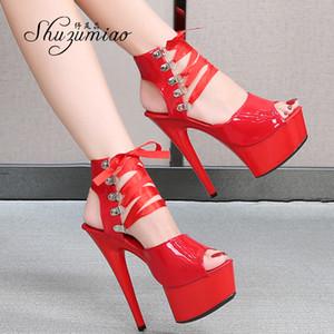 Zapatos Shuzumiao mujer de la plataforma 2020 sandalias Gladiato 15 CM tacones altos Zapato con cierre de tacón alto Zapatos Stripper inferior sandalias gruesas