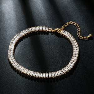 Hot Fashion Girls Women Bracelet Anklets Yellow Gold Plated Bling Sqaure CZ Tennis Anklets Bracelet Chains for Girls Women
