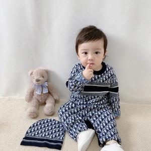 Bebek Tulumu Uzun Kollu Bebek Boys Kız Tulumlar Giyim Sonbahar Katı Örme Yenidoğan Bebek Çocuk tulumları One Piece 6-24M