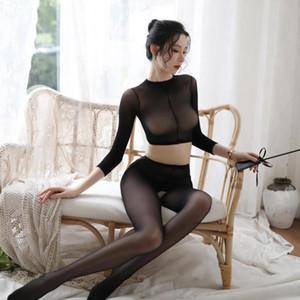 NIKOANA A Set Body Suit Sexy Lingerie Women Transparent Bodystocking Full Body Pantyhose Open Crotch Girl High Elastic Tights
