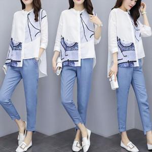 Female Office Suit Set Asymmetrical Print Shirts Top Irregular Long Pants Suit Womens Summer Casual Costumes 2 Piece Sets