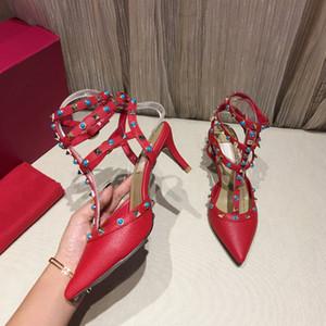 Yeni Yüksek Kalite Bayan Stiletto Topuk Topuklu Sandale Perçin Gem Döşeme Litchi Tahıl Deri Üç-Yüzük Dantel-Up Büyük Boy Gladyatör Sandalet