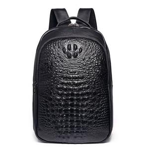 Viaggio dello zaino degli uomini Sacchetto del computer portatile vero coccodrillo modello in pelle di vacchetta Pouch sacchetto di scuola di modo degli uomini Zaino