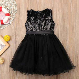 Black Sequins Princess Girls Dress Kid Baby Girl Tulle Wedding Evening Party Dresses Child Prom Dress New Year Costumes jllssT