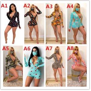 Frauen Designer Overall-Spielanzug reizvoller tiefer V-Ausschnitt gedruckt Langarm-Button-Shorts Enge Overall Hosen