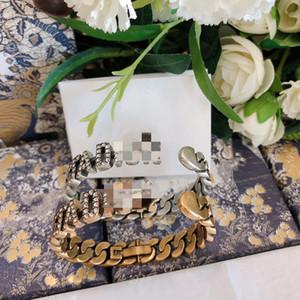 D Aile Seiko 1: 1 Moda Tam Elmas Antik Altın Mektubu Açık Bilezik Kristal Elmas Zincir Bilezik