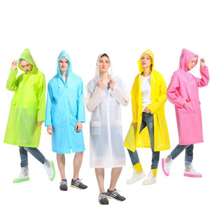 Fashion Light Outdoor Travel Frosted Translucent Large Brim Long Raincoat Manufacturers Direct Sale 6 Colors Available