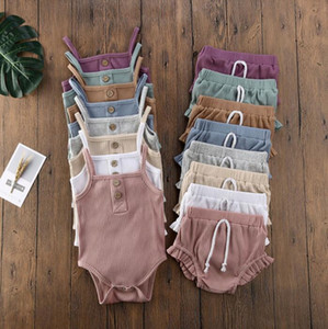 Baby Halter Shorts Set Summer Clothes Sets Sleeveless Trousers Suits Simple Solid Color Outfits Casual Vest Trouser Clothes DWB2703
