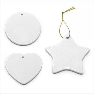 Пустая белая Сублимация керамического кулон Тепло Висячих печатания передачи DIY керамического Xmas Tree Орнамент сердце Новогоднее украшение LJJP715