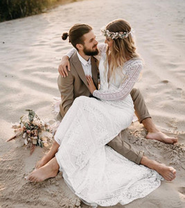 Vintage Lace Long Sleeve Boho Wedding Dresses V-Neck Open back Beach Wedding Bridal Gowns Elegant Vestido De Noiva