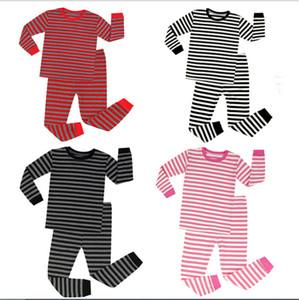 Noël Pyjamas d'enfants Survêtement enfants Ensembles deux pièces Tenues filles de garçon rayé ras du cou à manches longues Vêtements Ensembles bébé Blazers E92801